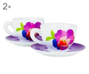 Set de 4 tazas de desayuno con plato de porcelana Naif –  violeta