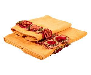 Set de 2 toallas de terciopelo rosas – naranja