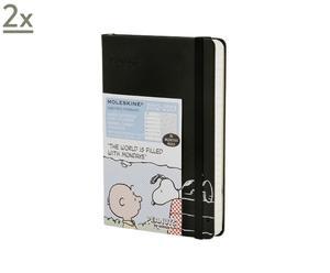 Set de 2 agendas semanales de 18 meses Snoopy Edición limitada, negro – 9x14