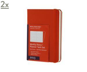Set de 2 agendas semanales con bloc de notas, rojo – 9x14