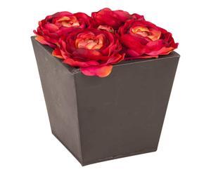 Jarrón con rosas artificiales de metal y algodón – negro y rojo