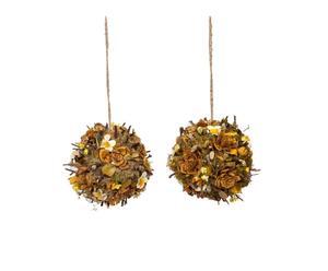 Set de 2 esferas decorativas flores secas de primavera