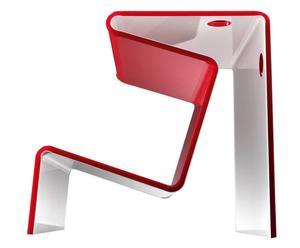 Mesa con espacio para libros Mangusta – rojo y blanco