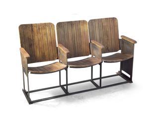 BANCO con 3 asientos de madera cine vintage