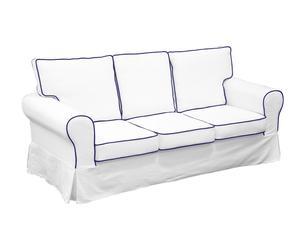 Sofá de 3 plazas de algodón Marlen - blanco y azul