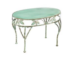 Mesa de centro de metal floral – verde