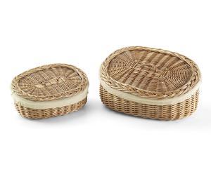 Set de 2 cestas ovales de mimbre y tela