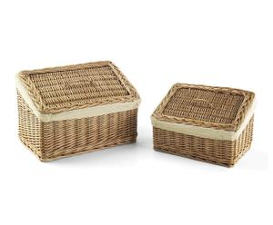 Set de 2 cestas rectangulares de mimbre y tela