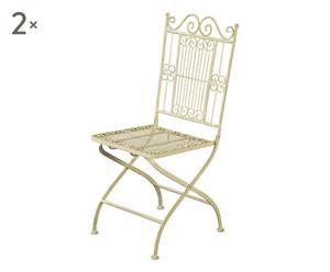 Set de 2 sillas plegables de hierro forjado - crema