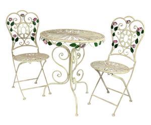 Set de 2 sillas y 1 mesa de hierro forjado Rosita