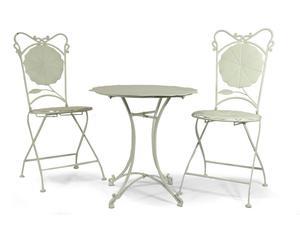 Set de 2 sillas y 1 mesa de hierro forjado Tulip