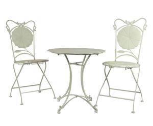 Set de 2 sillas y mesa de hierro forjado Tulip - blanco