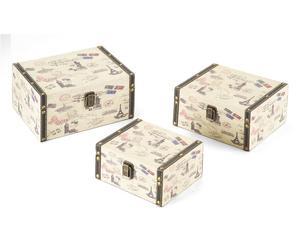 Set de 3 cajas de MDF Postales – crema y multicolor