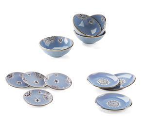 Vajilla de gres Flower, azul - 12 piezas