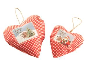 Set de 2 corazones colgantes perfumados Christmas Party - rojo