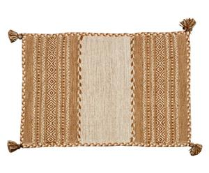 Alfombra kilim tejida a mano tribal, beige - 110x170