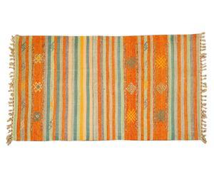 Alfombra kilim tejida a mano Lorry, naranja y crudo - 60x90