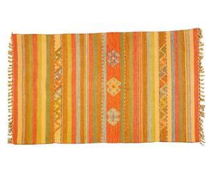 Alfombra kilim tejida a mano Lorry, naranja, amarillo y verde - 60x90