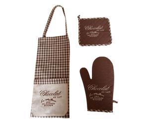 Set de delantal, agarradera y manopla CHOCOLAT – marrón