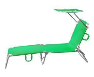 Tumbona de aluminio con parasol Sport - verde
