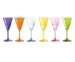 Set de 6 copas de vino de cristal VERANO JAZZ - multicolor