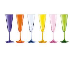 Set de 6 copas de champán de cristal VERANO JAZZ - multicolor