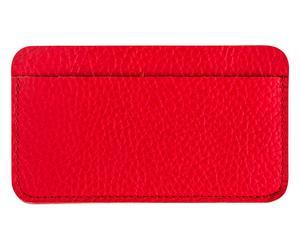 Funda de cuero para iPhone4 con tarjetero - rojo