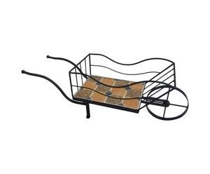 Carretilla macetero con azulejos de acero