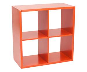 Estantería con 4 compartimientos en MDF lacado - naranja