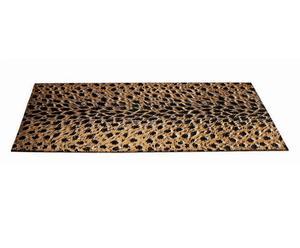 Esterilla de baño de madera con estampado animal - oro