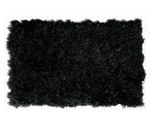 Alfombrilla de baño de piel de oveja - negra