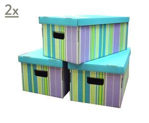 Set de 6 cajas de cartón Store - Azul