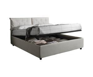 Cama-canapé doble de tela con somier Nicol, crema - 210x103x172
