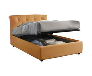 Cama-canapé de plaza y media de cuero con somier Nicol, albaricoque - 212x105x130