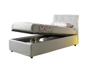 Cama-canapé individual de cuero con somier Nicol, blanco - 212x105x100