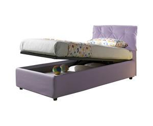 Cama-canapé individual de cuero con somier Nicol, lavanda - 212x105x100