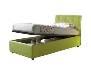 Cama-canapé individual de cuero con somier Nicol, verde lima - 212x105x100