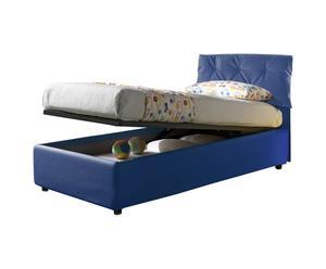 Cama-canapé individual de cuero con somier Nicol, azul - 212x105x100