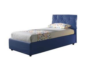 Cama individual de cuero con somier Nicol, azul - 212x105x100