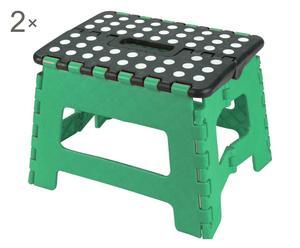 Set de 2 taburetes plegables de polipropileno – verde y negro