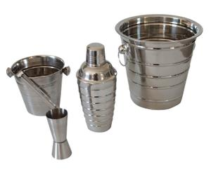 Set para preparar cócteles de metal - plata