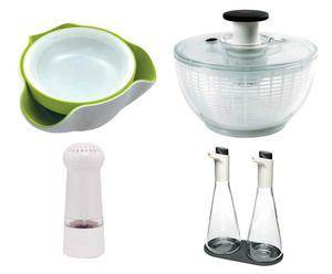 Set de ensalada con vinagreras, ensaladera doble, centrifugador y molinillo
