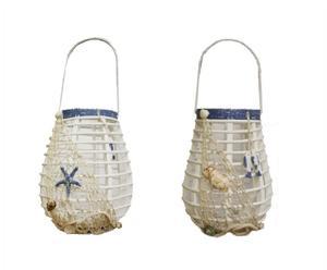 Set de 2 faroles de madera con detalles marineros