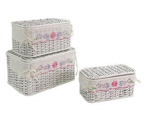 Set de 3 cajas de mimbre con tapa – estampado bebé