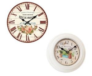 Set de 2 relojes de pared de madera y metal Botanical