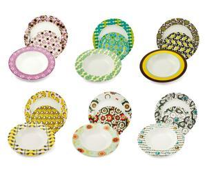 Vajilla de porcelana Anni, multicolor – 18 piezas