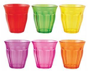 Set de 6 vasos largos de plástico Flúor – multicolor