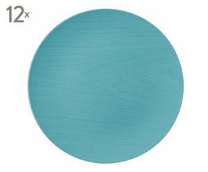 Set de 12 bajo platos de plástico Wood – turquesa
