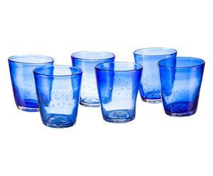 Set de 6 vasos de agua en vidrio soplado Honduras - azul
