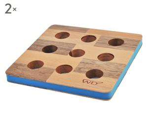 Set de 2 salvamanteles de madera y silicona Puntos, azul – 20x20